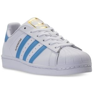 New w/ Box Adidas Superstar shoes light blue/white